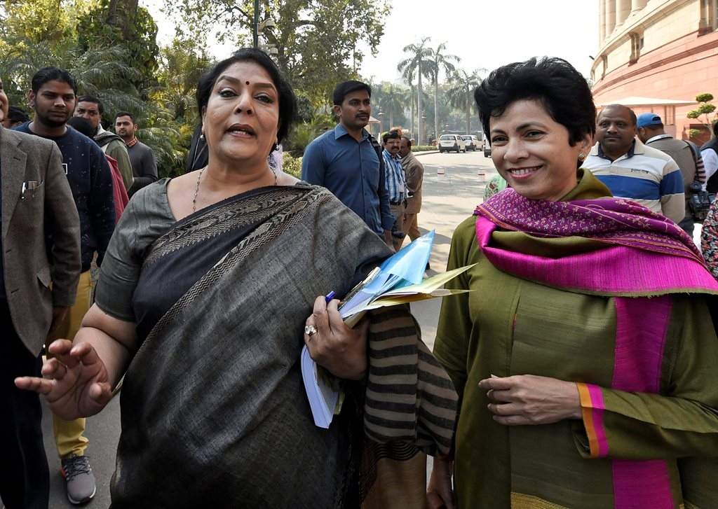 New Delhi: Congress leaders Renuka Chowdhury and Kumari Selja during the budget session of Parliament in New Delhi on Friday. PTI Photo by Kamal Singh(PTI2_9_2018_000061B)