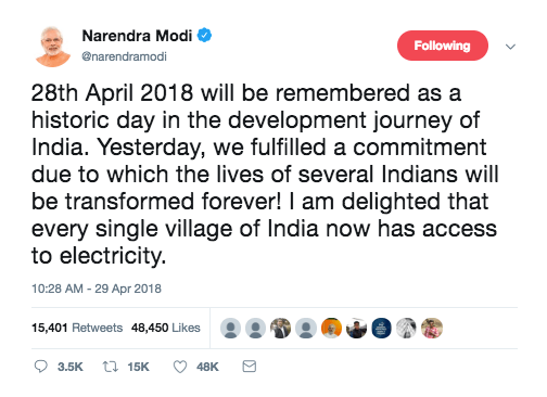 Modi Tweet Electrification