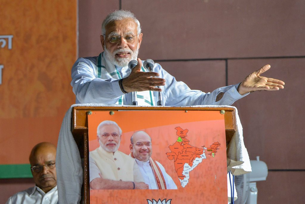 New Delhi: Prime Minister Narendra Modi addresses BJP party workers after Karnataka Assembly election results 2018, in New Delhi, on Tuesday. (PTI Photo) (PTI5_15_2018_000222B)