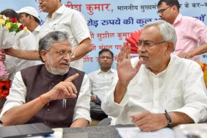 Patna: Bihar Chief Minister Nitish Kumar along with Deputy CM Sushil Kumar Modi, after inaugurating various development schemes of the health department of Bihar state, in Patna, on Monday, 28 May 2018. (PTI Photo)(PTI5_28_2018_000048B)