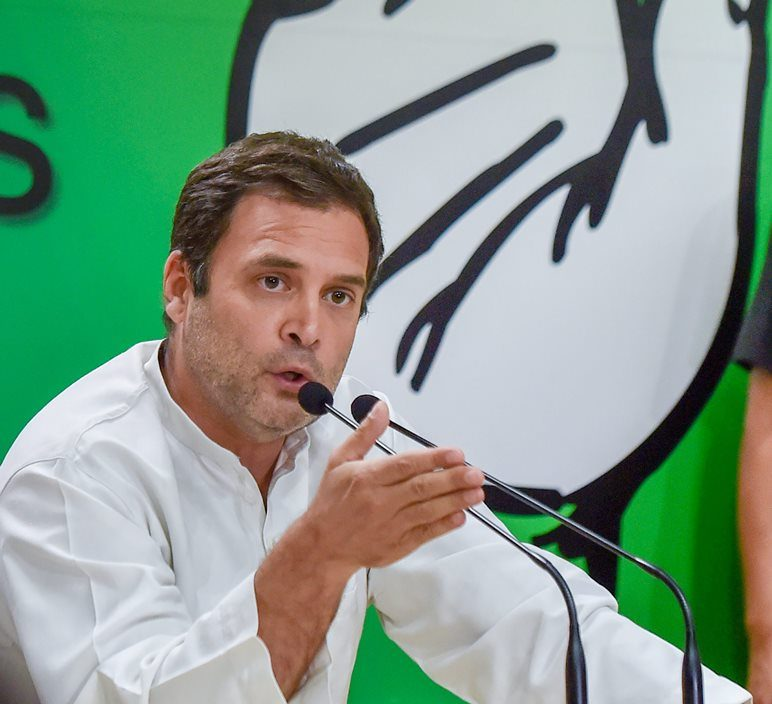 New Delhi: Congress President Rahul Gandhi gestures as he addresses the media at party office, in New Delhi, on Saturday. (PTI Photo/ Manvender Vashist)(PTI5_19_2018_000134B)