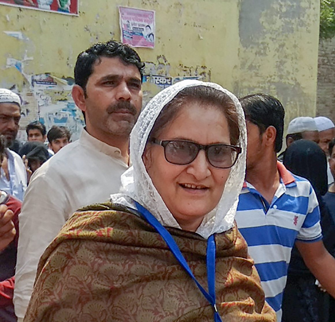 Kairana: RLD candidate for Kairana Lok Sabha seat, Tabassum Hasan visits a polling station, in Kairana on Monday, May 28, 2018. PTI Photo (PTI5_28_2018_000149B)