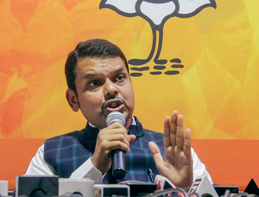 Mumbai: Maharashtra Chief Minister Devendra Fadnavis addresses the media at BJP office, Nariman Point, in Mumbai on Thursday, May 31, 2018. (PTI Photo)(PTI5_31_2018_000200B)