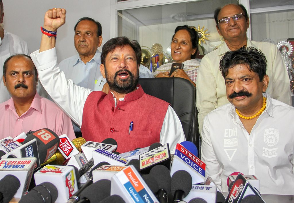 Jammu: BJP leader Choudhary Lal Singh addresses a press conference, in Jammu on Friday, June 22, 2018. (PTI Photo) (PTI6_22_2018_000017B)