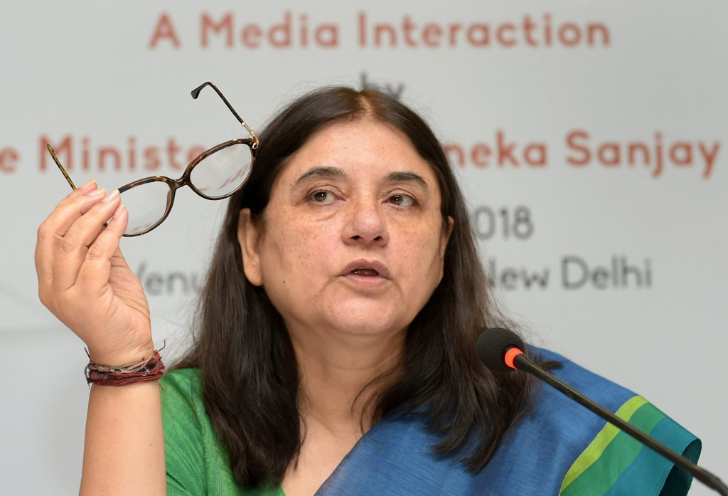 New Delhi: Union Minister for Women & Child Development Maneka Gandhi addresses a press conference regarding her ministry's achievements and initiatives, in New Delhi on Wednesday, June 06, 2018. (PTI Photo/Vijay Verma) (PTI6_6_2018_000062B)