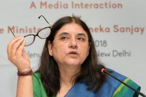 New Delhi: Union Minister for Women & Child Development Maneka Gandhi addresses a press conference regarding her ministry's achievements and initiatives, in New Delhi on Wednesday, June 06, 2018. (PTI Photo/Vijay Verma) (PTI6_6_2018_000062B)