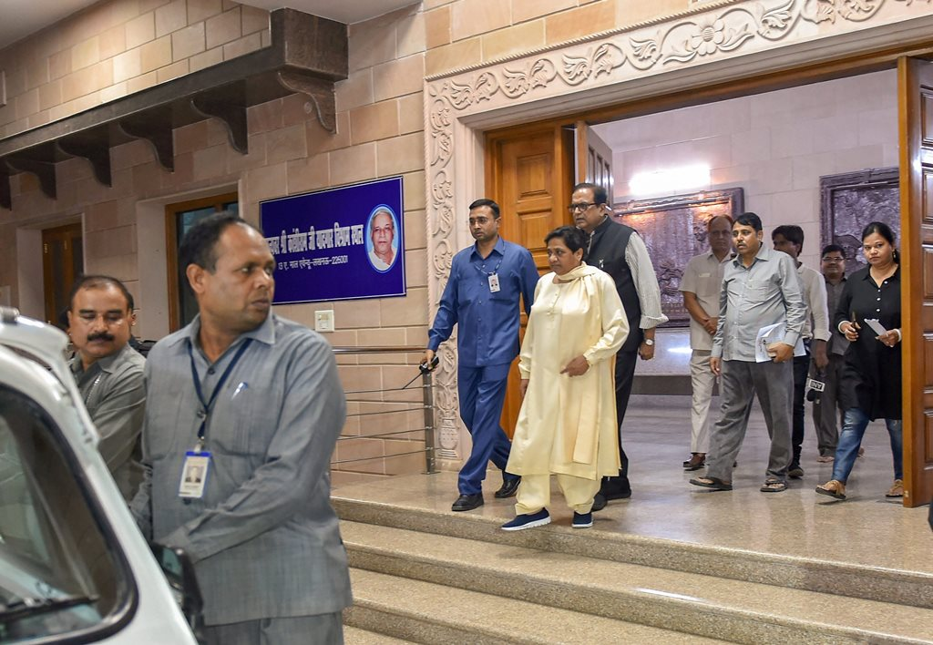 Lucknow: BSP president and former UP chief minister Mayawati vacates her official residence on the directives of the Supreme Court, in Lucknow on Saturday, Jun02 ,2018 which has been converted into a memorial after party founder Kanshi Ram. (PTI Photo/Nand Kumar)(PTI6_2_2018_000157B)