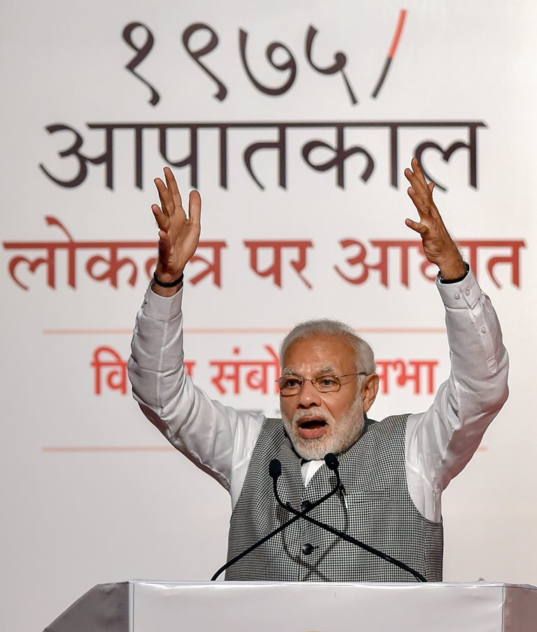 Mumbai: Prime Minister Narendra Modi speaks during a BJP function, in Mumbai on Tuesday, June 26, 2018. (PTI Photo/Mitesh Bhuvad) (PTI6_26_2018_000138B)