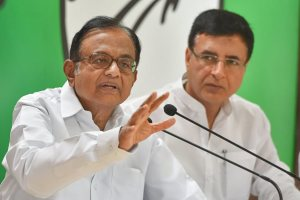 New Delhi: Senior Congress leader P Chidambaram speaks during a party briefing, as party media head Randeep Surjewala looks on, at AICC HQ, in New Delhi on Monday, June 11, 2018. (PTI Photo/Shahbaz Khan)(PTI6_11_2018_000029B)