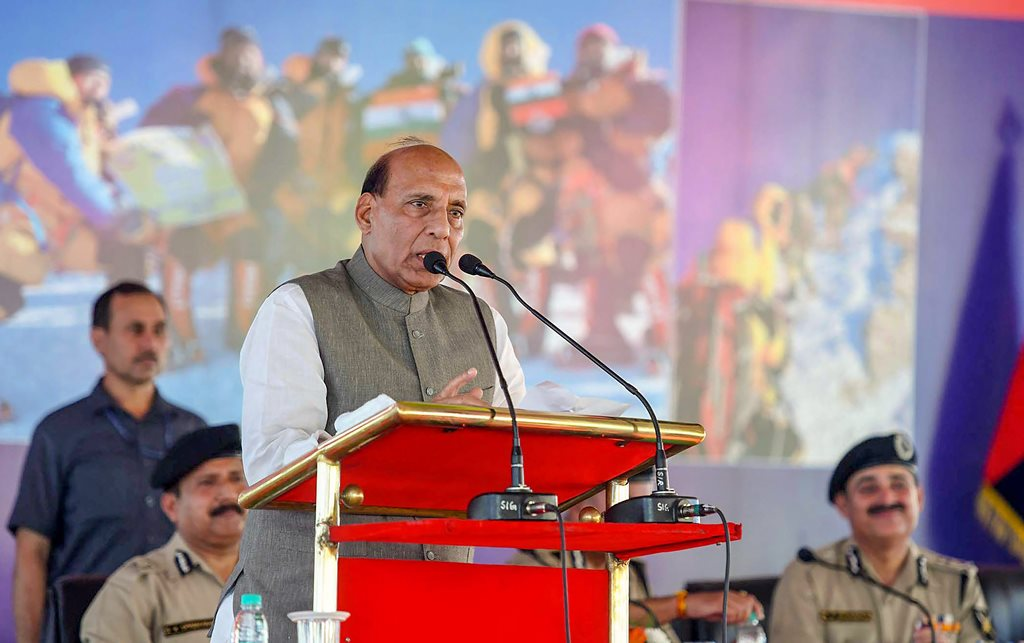 New Delhi: Union Home Minister Rajnath Singh addresses during the felicitation ceremony of 2nd BSF Mount Everest expedition, in New Delhi on Tuesday, June 05, 2018. (PTI Photo/Arun Sharma)(PTI6_5_2018_000168B)