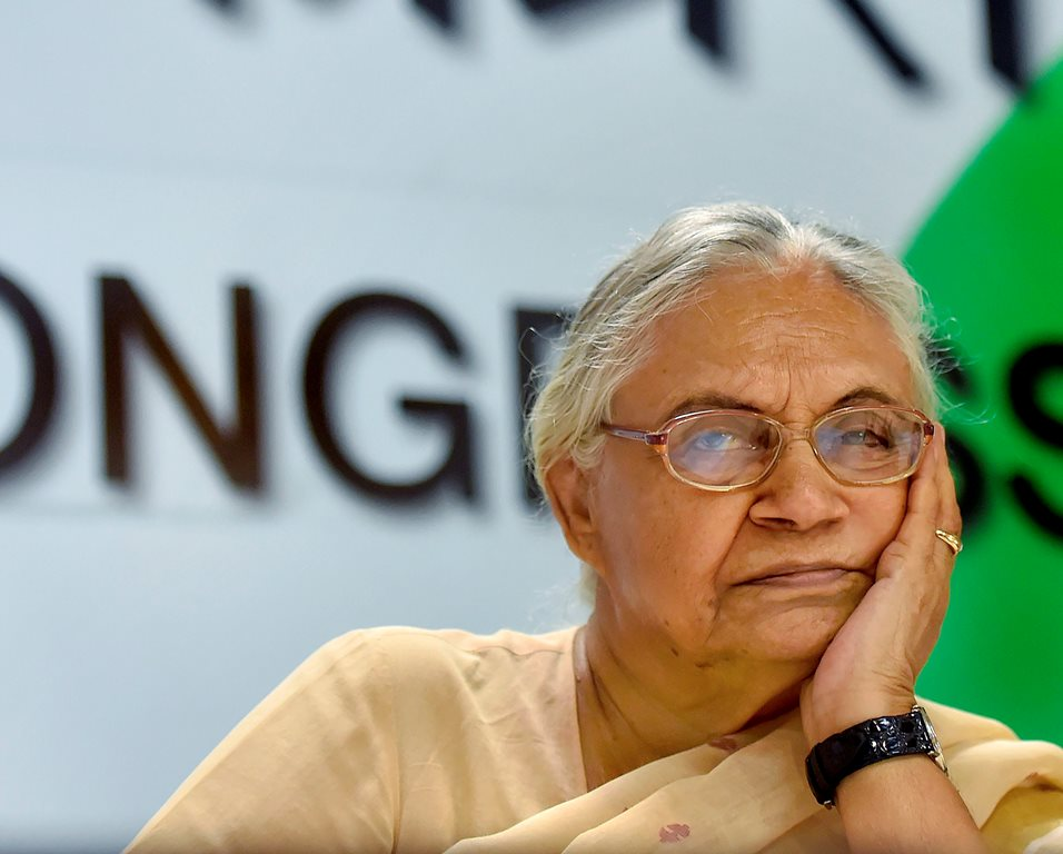 New Delhi: Senior Congress leader and Delhi former chief minister Sheila Dikshit during a press conference, in New Delhi, on Friday, June 15, 2018. (PTI Photo/Ravi Choudhary)(PTI6_15_2018_000098B)