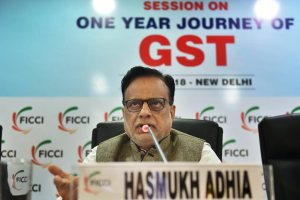 New Delhi: Revenue Secretary Hasmukh Adhia addresses during a session on 'One Year Journey Of GST' at FICCI office, in New Delhi, on Friday, July 06, 2018. (PTI Photo/Arun Sharma)(PTI7_6_2018_000027B)