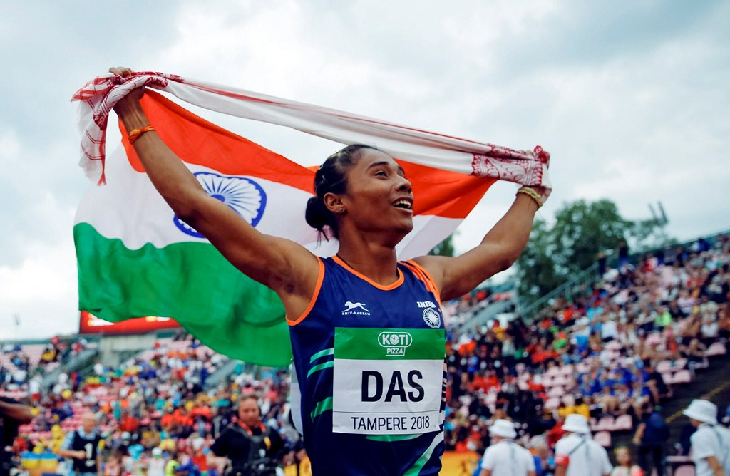 Tampere: Hima Das, of India, celebrates her victory in women's 400 meter race at the 2018 IAAF World U20 Championships in Tampere, Finland, Thursday, July 12, 2018. AP/PTI(AP7_13_2018_000006B)