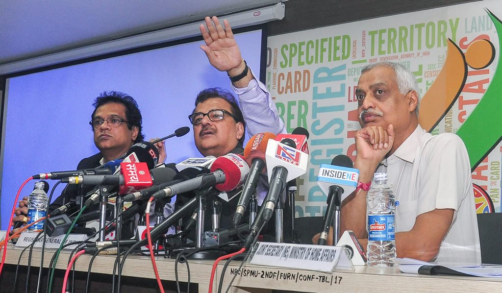 Guwahati: Sailesh, Registrar General of India and Prateek Hajela, NRC State Coordinator (l) addresses a press conference on the final draft of Assams National Register of Citizens, at NRC office, Bhangagarh in Guwahati, on Monday, July 30, 2018. Satyendra Garg, Joint Secretary, is also seen. (PTI Photo)(PTI7 30 2018 000035B)
