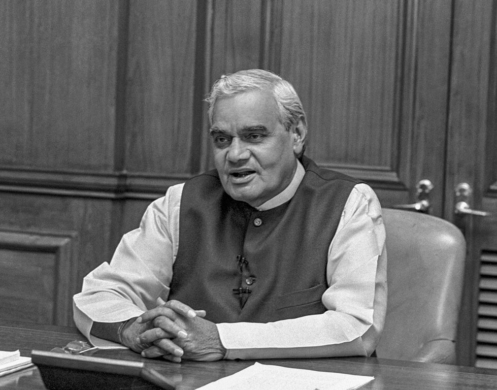 **FILE PHOTO** New Delhi: In this file photo dated May 19, 1996, former prime minister Atal Bihari Vajpayee addresses the nation at South Block, in New Delhi. Vajpayee, 93, passed away on Thursday, Aug 16, 2018, at the All India Institute of Medical Sciences, New Delhi after a prolonged illness. (PTI Photo)(PTI8_16_2018_000171B)