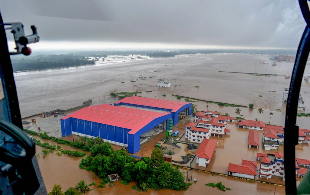 Kerala: An aerial view of flooded areas of Kerala, on Monday, Aug. 20, 2018. (Coast Guard Handout Photo via PTI)(PTI8_20_2018_000081B)
