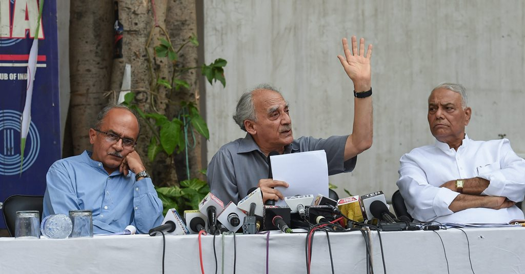 New Delhi: Lawyer Prashant Bhushan with former union ministers Arun Shourie and Yashwant Sinha during a press conference, in New Delhi on Aug 8, 2018. (PTI Photo/Atul Yadav) (PTI8_8_2018_000184B)