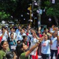 New Delhi: Students raise slogans as they campaign during Delhi University elections, in New Delhi, Wednesday, Sept 12, 2018. (PTI Photo) (PTI9_12_2018_000166B)