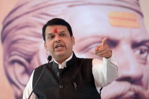 Pune: Maharashtra Chief Minister Devendra Fadnavis addresses at the 227th birth anniversary function of Umaji Naik Khomane, at Bhiwadi village in Pune, Friday, Sept 7, 2018. (PTI Photo) (PTI9_7_2018_000162B)