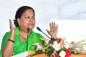 Keshoraipatan: Rajasthan Chief Minister Vasundhara Raje speaks during the 'Rajasthan Gaurav Yatra' at Keshoraipatan, near Kota, Monday, Sept 17, 2018. (PTI Photo)(PTI9_17_2018_000146B)