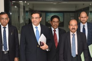 Mumbai: RBI Governor Urjit Patel (2nd L) with deputy governors arrive for a post-monetary policy press conference, in Mumbai, Friday, Oct 5, 2018. (PTI Photo/Shirish Shete) (PTI10_5_2018_000090B)