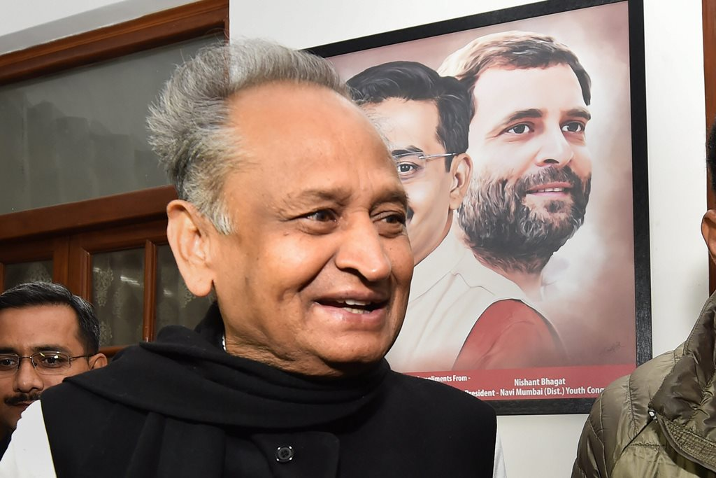 New Delhi: Rajasthan Congress leader Ashok Gehlot at a party MP's residence in New Delhi, Friday, Dec. 14, 2018. Gehlot later left for party president Rahul Gandhi's residence. (PTI Photo/Manvender Vashist) (PTI12_14_2018_000018)