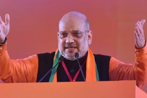 New Delhi: BJP National President Amit Shah addresses on the first day of BJP National Executive Meet, at Ramlila Maidan in New Delhi, Friday, Jan 11, 2019. (PTI Photo/Kamal Kishore) (PTI1_11_2019_000121B)