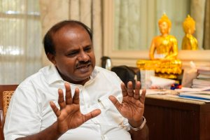 Bengaluru: Karnataka Chief Minister HD Kumaraswamy speaks during an interview with PTI, in Bengaluru, Saturday, Jan. 12, 2019. (PTI Photo/Shailendra Bhojak) (Story no. MDS 3) (PTI1_13_2019_000053B)