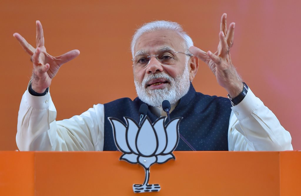 New Delhi: Prime Minister Narendra Modi addresses on the second day of the two-day BJP National Convention, at Ramlila Ground in New Delhi, Saturday, Jan 12, 2019. (PTI Photo/Kamal Kishore) (PTI1_12_2019_000166B)