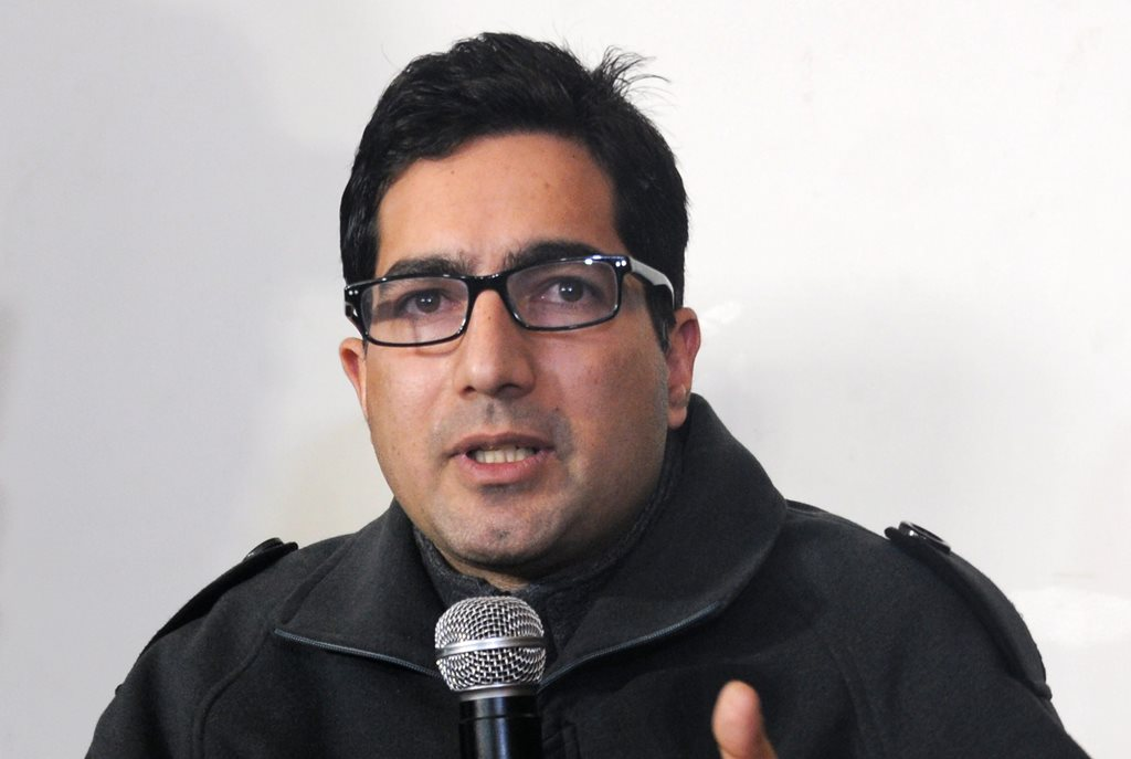 "Srinagar: IAS officer Shah Faesal addresses a press conference after announcing his resignation, in Srinagar, Friday, Jan. 11, 2019. Faesal, who has been in the limelight since becoming the first Kashmiri to top the civil services exam in 2009, announced his resignation on January 9 through social media to protest the ""unabated"" killings in Kashmir and the marginalisation of Indian Muslims.(PTI Photo)(PTI1_11_2019_000092B)"