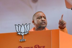 New Delhi: Uttar Pradesh Chief Minister Yogi Adityanath addresses on the second day of the two-day BJP National Convention, at Ramlila Ground in New Delhi, Saturday, Jan 12, 2019. (PTI Photo/Kamal Kishore) (PTI1_12_2019_000190B)