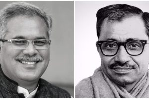 छत्तीसगढ़ के मुख्यमंत्री भूपेश बघेल और दीनदयाल उपाध्याय. (फोटो साभार: फेसबुक/bjp.org)