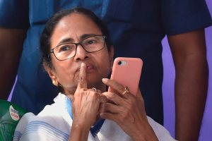 Kolkata: West Bengal Chief Minister Mamata Banerjee during a sit-in over the CBI's attempt to question the Kolkata Police commissioner in connection with chit fund scams, in Kolkata, Monday, Feb. 04, 2019. (PTI Photo/Ashok Bhaumik)(PTI2_4_2019_000159B)
