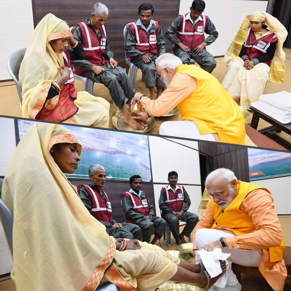 Narendra Modi washing feet of Sanitation Workers Twitter BJP