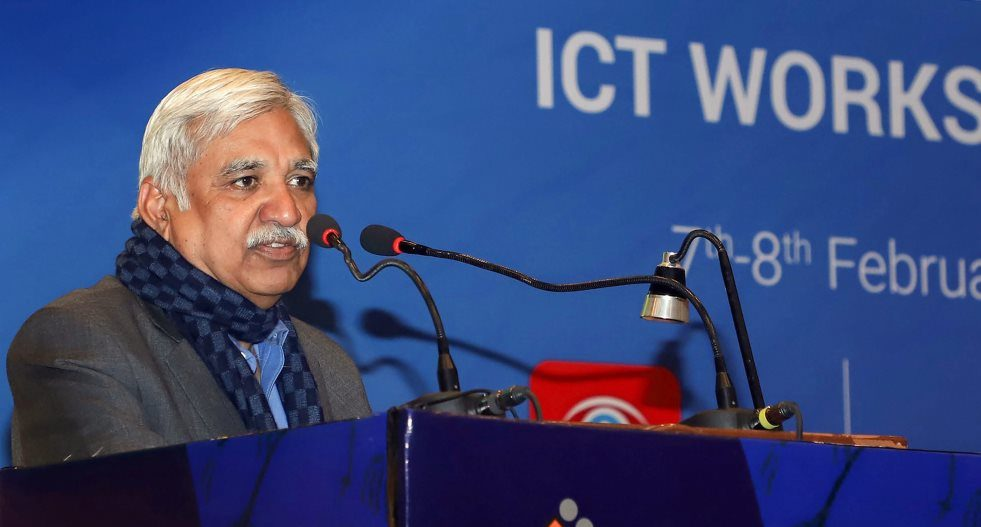 New Delhi: Chief Election Commissioner Sunil Arora addresses the concluding session of the Training workshop on ICT Application for General Elections 2019, in New Delhi, Friday, Feb 8, 2019. (PIB Photo via PTI) (PTI2_8_2019_000236B)
