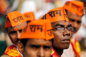 "Supporters of the Vishva Hindu Parishad (VHP), a Hindu nationalist organisation, attend ""Dharma Sabha"" or a religious congregation organised by the VHP in New Delhi, India, December 9, 2018. REUTERS/Adnan Abidi"