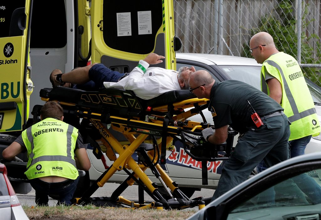 Christchurch: Ambulance staff take a man from outside a mosque in central Christchurch, New Zealand, Friday, March 15, 2019. A witness says many people have been killed in a mass shooting at a mosque in the New Zealand city of Christchurch. AP/PTI(AP3_15_2019_000002B)