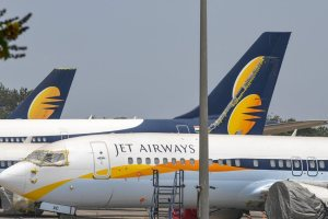 Mumbai: A view of Jet Airways planes parked at the Mumbai airport, Monday, April 15, 2019. The airline is operating just 6-7 planes, with almost its entire fleet being grounded due to non-payment of rentals to lessors amid severe paucity of cash. (PTI Photo/Shirish Shete)(PTI4_15_2019_000046B)