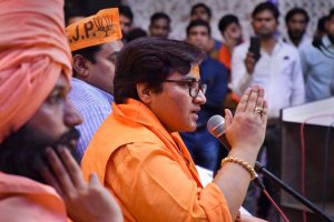 Bhopal: BJP candidate Sadhvi Pragya Singh Thakur addresses a party workers meeting for Lok Sabha polls, in Bhopal, Thursday, April 18, 2019. (PTI Photo) (PTI4_18_2019_000241B)