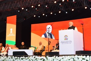 The Prime Minister, Shri Narendra Modi addressing at the inauguration of the 15th Pravasi Bharatiya Divas Convention 2019, in Varanasi, Uttar Pradesh on January 22, 2019.
