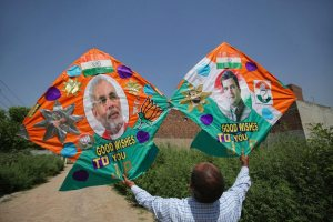 Amritsar: A kitemaker displays customised kites made ahead of the Lok Sabha elections results 2019, in Amritsar, Wednesday, May 22, 2019. (PTI Photo) (PTI5_22_2019_000072B)