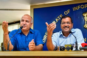 New Delhi: Delhi Chief minister Arvind Kejriwal and deputy Chief minister Manish Sisodia During the press conference at Delhi secretariat in New Delhi, Monday, June 3, 2019. (PTI Photo/Ravi Choudhary)(PTI6_3_2019_000049B)