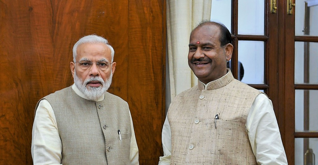 New Delhi: Prime Minister Narendra Modi greets Om Birla on being unanimously elected as the Speaker of the Lok Sabha, at Parliament in New Delhi, Wednesday, June 19, 2019. (Twitter/PTI Photo) (PTI6_19_2019_000091B)