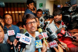 Gandhinagar: Congress MLA Alpesh Thakor addresses the media after submitting his resignation to the Speaker during Rajya Sabha elections, in Gandhinagar, Friday, July 5, 2019. (PTI Photo)(PTI7_5_2019_000153B)