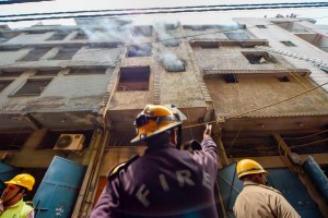 Delhi: Firefighters carry out rescue operation at a massive fire at a hardware factory in Jhilmil industrial area, in New Delhi, Saturday, July 13, 2019. Three people, including two women, were killed in the incident. (PTI Photo/Ravi Choudhary) (PTI7_13_2019_000065B)