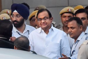 New Delhi: Senior Congress leader and finance minister P. Chidambaram after he was produced in a CBI court in INX media case in New Delhi, Thursday, Aug 22, 2019. PTI Photos
