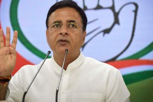 New Delhi: Congress spokesperson Randeep Singh Surjewala addresses a press conference, at AICC Headquarters in New Delhi, Thursday, Aug 22, 2019. (PTI Photo/Ravi Choudhary)(PTI8 22 2019 000017B)