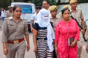 Shahjahanpur: The woman law student, who alleged BJP leader Chinmayanand of sexual misconduct and harassment, outside a local court in Shahjahanpur, Tuesday, Sept. 24, 2019. The court Tuesday admitted the anticipatory bail plea of her after she was booked for allegedly trying to extort money from him. (PTI Photo) (PTI9_24_2019_000129B)