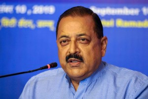 Jammu: Minister of State for PMO Jitendra Singh addresses a press conference in Jammu,Tuesday, Sept. 10, 2019. (PTI Photo)(PTI9_10_2019_000089B)