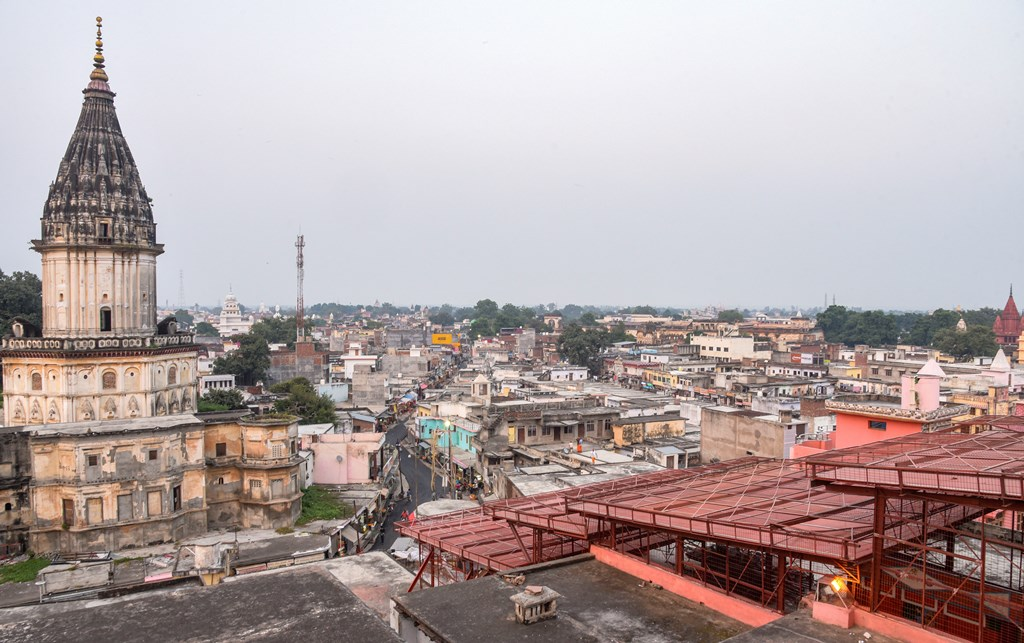 Ayodhya: A view of the temple city of Ayodhya as seen from the roof of the famous Hanumangarhi, Thursday evening, Oct. 17, 2019. (PTI Photo) (PTI10_17_2019_000140B)
